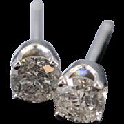14K 0.50 Ctw I/I2 Diamond Stud Earrings White Gold
