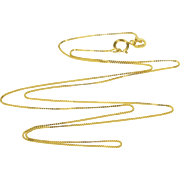 "14K 0.5mm Square Link Box Chain Necklace 17.5"" Yellow Gold  [QPQQ]"