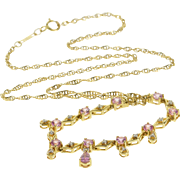 "14K 1.6mm Pink Topaz Diamond Inset Rolling Curb Necklace 17"" Yellow Gold  [QPQQ]"