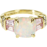 10K Opal* Baguette Pink Topaz Diamond Accent Ring Size 4 Yellow Gold [QPQQ]