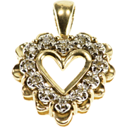 10K Diamond Inset Two Tone Scalloped Heart Pendant Yellow Gold  [QPQQ]