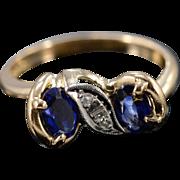 14K Art Deco 1.02 Ctw Sapphire Diamond Ring Size 5.5 Yellow Gold