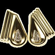14K Diamond Inset Tear Drop Scalloped Post Back Earrings Yellow Gold  [QPQQ]