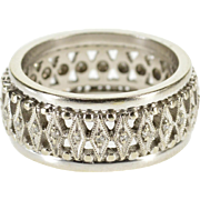 14K Ornate Diamond Lattice Kite Wedding Band Ring Size 4.5 White Gold [QPQQ]