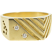 10K Diamond Flush Squared Grooved Pattern Men's Ring Size 9.75 Yellow Gold [QPQQ]