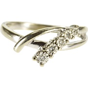 10K Curved Diamond Inset Freeform Bypass Band Ring Size 5.75 White Gold [QPQQ]