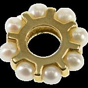 14K Pearl Inset Slide Bead Ring Charm/Pendant Yellow Gold  [QPQC]