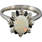 18K 0.72 CTW Opal Diamond Halo Ring - Size 5 / Yellow Gold