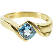 14K Faceted Cushion Blue Topaz Bypass Ring Size 6.75 Yellow Gold [QPQQ]