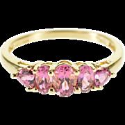 14K Pink Tourmaline Five Stone Statement Band Ring Size 9 Yellow Gold [QPQQ]
