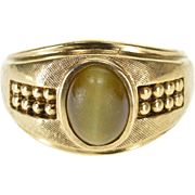 10K Green Cats Eye Cabochon Textured Dot Accent Ring Size 10 Yellow Gold [QPQQ]