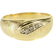 14K Retro Two Tone Diamond Inset Rounded Men's Band Ring Size 10 Yellow Gold [QPQQ]