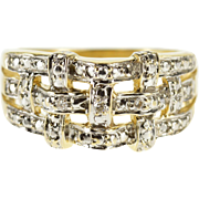 14K Textured Two Tone Weave Diamond Accented Band Ring Size 6.75 Yellow Gold [QPQQ]