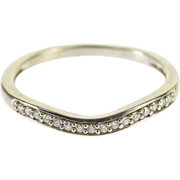 10K Diamond Channel Inset Curved Wedding Band Ring Size 5.75 White Gold [QPQQ]