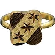 22K Indian Floral Motif Baby Ring Size 0 Yellow Gold