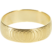 14K Overlapping Circle Ring Patterned Rounded Band Ring Size 9.5 Yellow Gold [QPQQ]