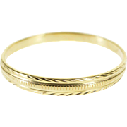 14K Grooved Pattern Graduated Men's Wedding Band Ring Size 9.75 Yellow Gold [QPQQ]