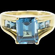 10K Emerald Cut Blue Topaz Princess Accent Ring Size 7.75 Yellow Gold [QPQC]