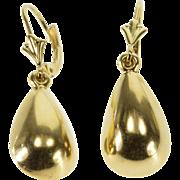 14K 3D Tear Drop Dangle Lever Back Earrings Yellow Gold  [QPQC]