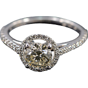 14K EGL 1.04 Ct SI2 Round Diamond 0.50 Ctw Halo Engagement Ring Size 7 White Gold