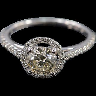 14K EGL 1.04 Ct SI2 Round Diamond 0.50 Ctw Halo Engagement Ring Size 7 White Gold