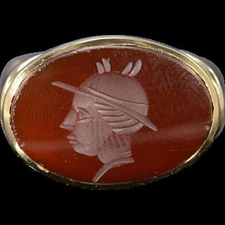 10K Carved Carnelian Gladiator Bezel Ring Size 5.75 Yellow Gold
