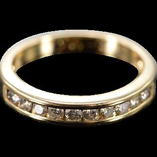 14K 0.20 Ctw Diamond Channel Set Wedding Band Ring Size 4.25 Yellow Gold