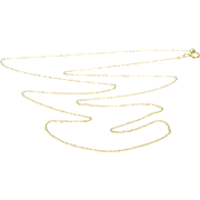 "10K 0.8mm Twist Rolling Loose Link Cable Chain Necklace 17.5"" Yellow Gold  [QPQC]"