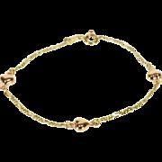 "14K Two Tone Figaro Chain Heart Charm Bead Link Bracelet 6.5"" Yellow Gold  [QPQC]"
