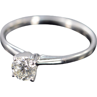 14K 0.56 Ct Diamond Round Solitaire Engagement Ring Size 8.75 White Gold