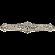 10K 0.25 Ct Art Deco Sapphire Filigree Ornate Bar Pin/Brooch White Gold  [QPQC]