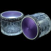 Sterling Silver Pair Purple Enamel Floral Etched Crystal Jars Fine Silver