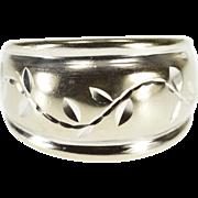 10K Rounded Diamond Cut Vine Leaf Pattern Band Ring Size 5.25 White Gold [QPQC]
