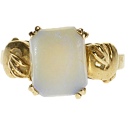 10K Ornate Rectangular Prong Inset Opal Statement Ring Size 4.5 Yellow Gold [QPQC]