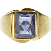 10K Emerald Cut Sapphire* Solitaire Mens Textured Ring Size 9.75 Yellow Gold [QPQC]