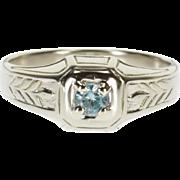18K Blue Topaz Solitaire Leaf Vine Patterned Ring Size 9 White Gold [QPQC]