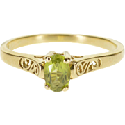 14K Oval Peridot Solitaire Cut Out Scroll Design Ring Size 6.75 Yellow Gold [QPQC]