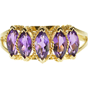 14K Marquise Five Stone Amethyst Rope Trim Ring Size 6.75 Yellow Gold [QPQC]
