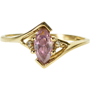 10K Pink White Cubic Zirconia Marquise Bypass Ring Size 7 Yellow Gold [QPQC]