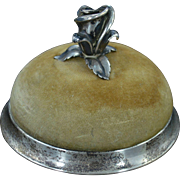 Sterling Silver Vintage Tiffany & Co. Rose Topped Velvet Pin Cushion Fine Silver