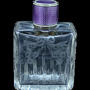 Sterling Silver Vintage Purple Enamel Etched Crystal Perfume Bottle Fine Silver