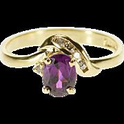 14K Oval Purple Tourmaline Diamond Accent Wavy Ring Size 6.5 Yellow Gold [QPQC]