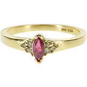 14K Marquise Ruby Diamond Cluster Accented Ring Size 6.75 Yellow Gold [QPQC]