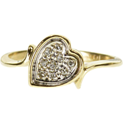 10K Pave Diamond Encrusted Tilted Heart Wavy Ring Size 3.75 Yellow Gold [QPQC]