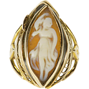 10K Carved Carnelian Marquise Cameo Scroll Design Ring Size 4 Yellow Gold [QPQC]