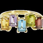 10K Rainbow Emerald Cut Gemstone Statement Band Ring Size 7.75 Yellow Gold [QPQC]