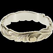 14K Ornate Art Nouveau Scroll Wave Patterned Band Ring Size 7.75 White Gold [QPQC]