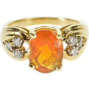 14K Oval Spessartite Garnet Diamond Cluster Accented Ring Size 6 Yellow Gold [QPQC]