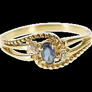10K Three Stone Sapphire Diamond Rope Bypass Ring Size 7.75 Yellow Gold [QPQC]