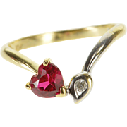 10K Ruby* Heart Two Tone Diamond Inset Leaf Freeform Ring Size 4 Yellow Gold [QPQC]